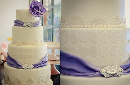 ivory purple wedding cake