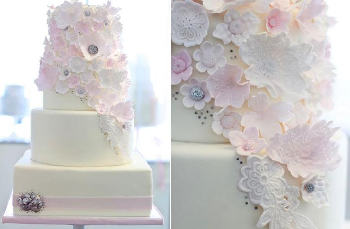 Roantic White Pink Silver Wedding Cake