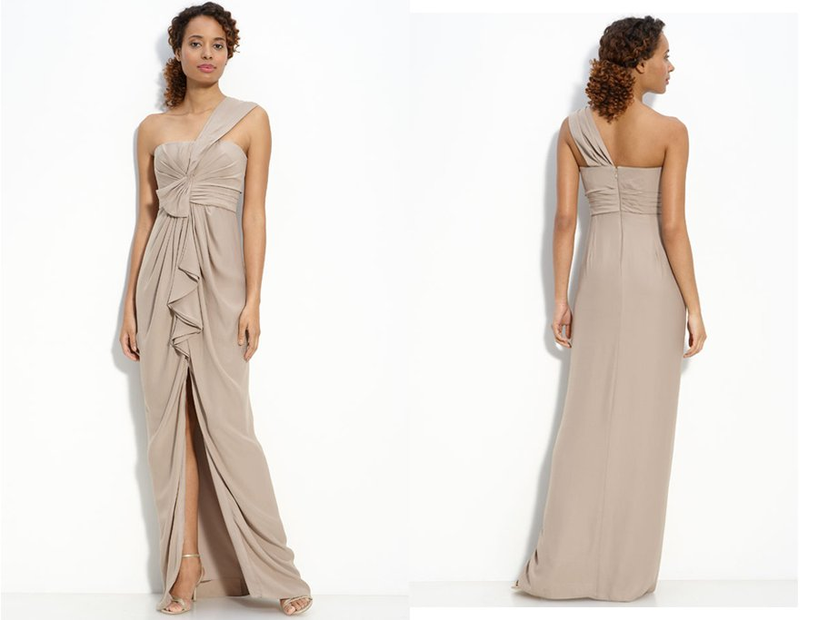 One Shoulder Beige Wedding Dress Budget Friendly