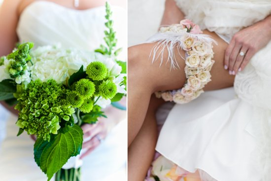 Floral wedding garter and bright green ivory bouquet