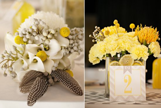 Yellow and ivory wedding flower centerpieces