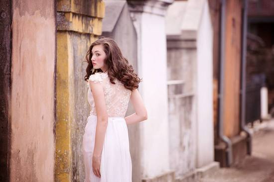 Sheer illusion back wedding dress by Sarah Seven