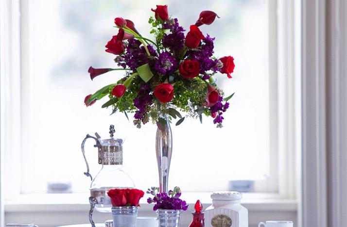 Purple Red Wedding Flower Centerpieces Silver Vase