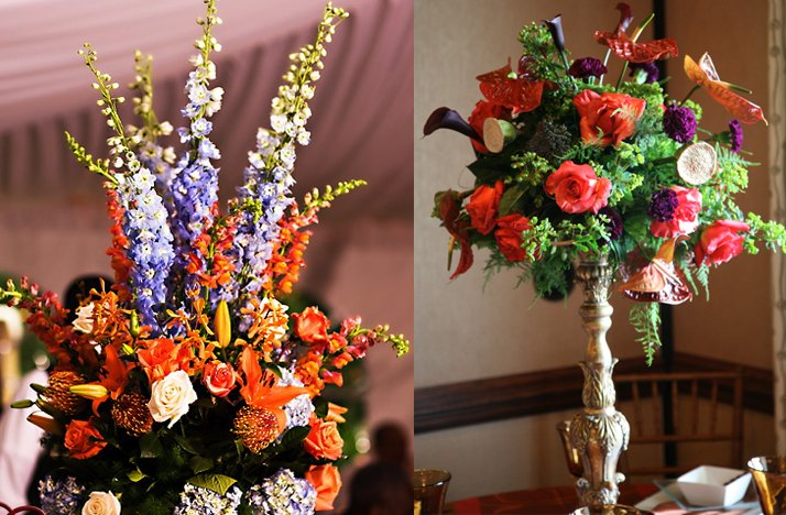Tropical Wedding Flowers Dramatic Reception Centerpieces Orange Purple