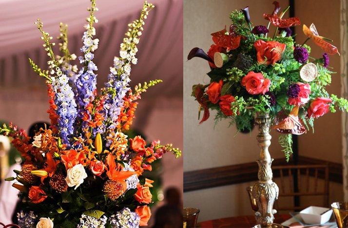 Tropical-wedding-flowers-dramatic-reception-centerpieces-orange-purple.full