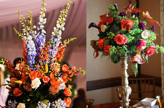 tropical wedding flowers dramatic reception centerpieces orange purple