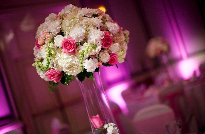 Pink white wedding flowers reception centerpiece topiary mightylinksfo