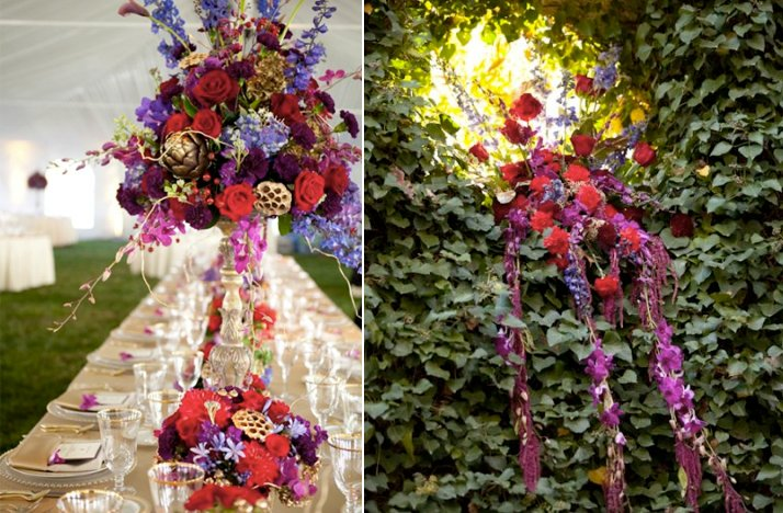 Purple Red Wedding Flowers Outdoor Wedding Ceremony Tent Venue