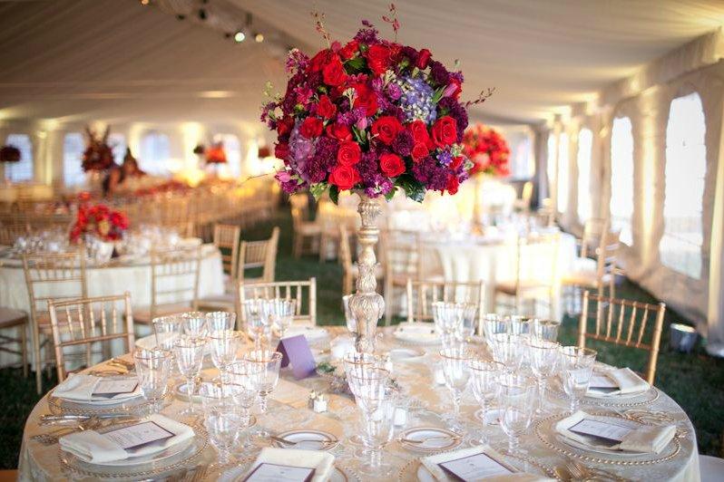 purple wedding reception centerpiece roses metallic
