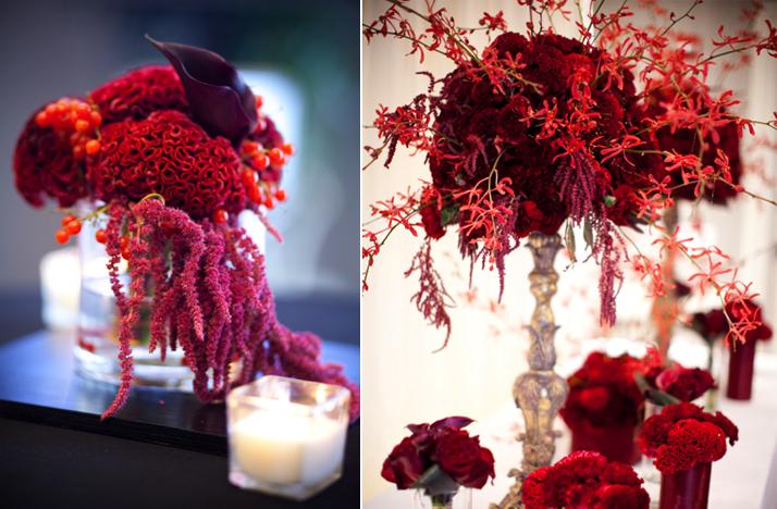Wedding flower centerpieces red beautiful