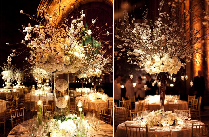 white wedding reception centerpieces dramatic topiaries