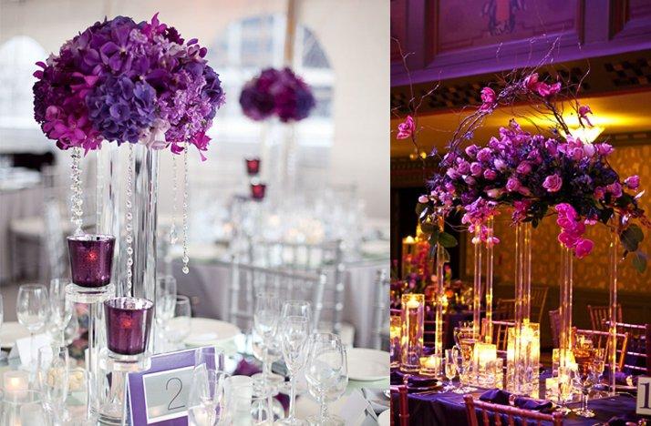Purple wedding centerpieces high topiaries junglespirit Gallery