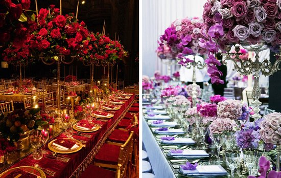elegant wedding flowers reception table centerpieces high topiaries red purple