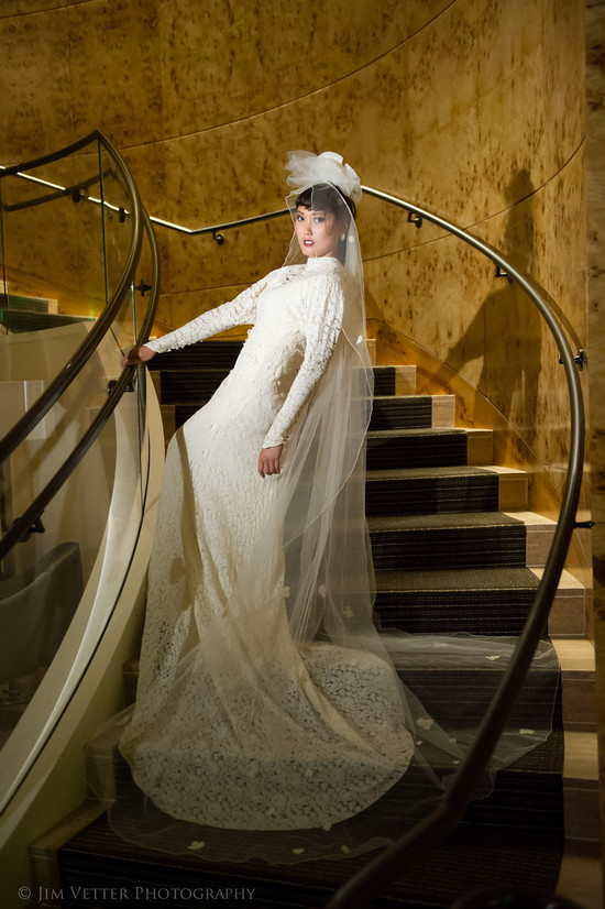 lace sleeved wedding gown 1930s inspired