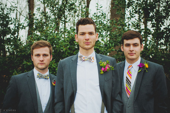 Modern patterned bow and neck ties for hipster grooms