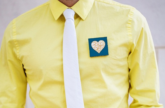 stitched heart grooms boutonniere for hipster wedding