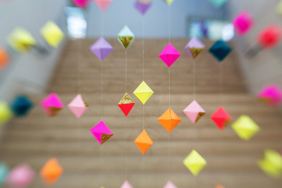 colorful geo wedding backdrop for ceremony