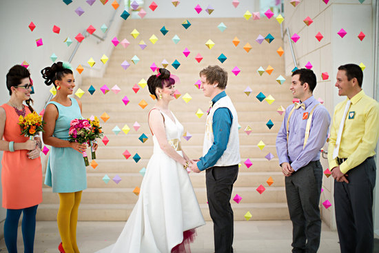 hipster wedding ceremony bright geo backdrop