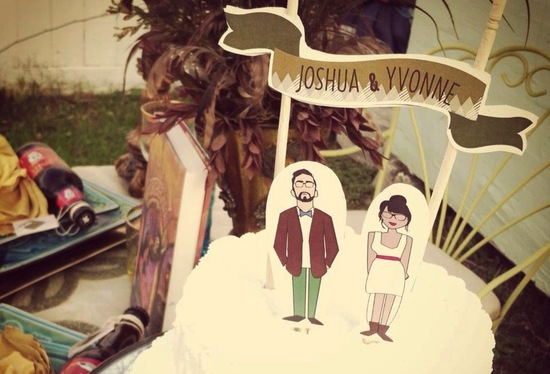 Rad hipster wedding cake topper