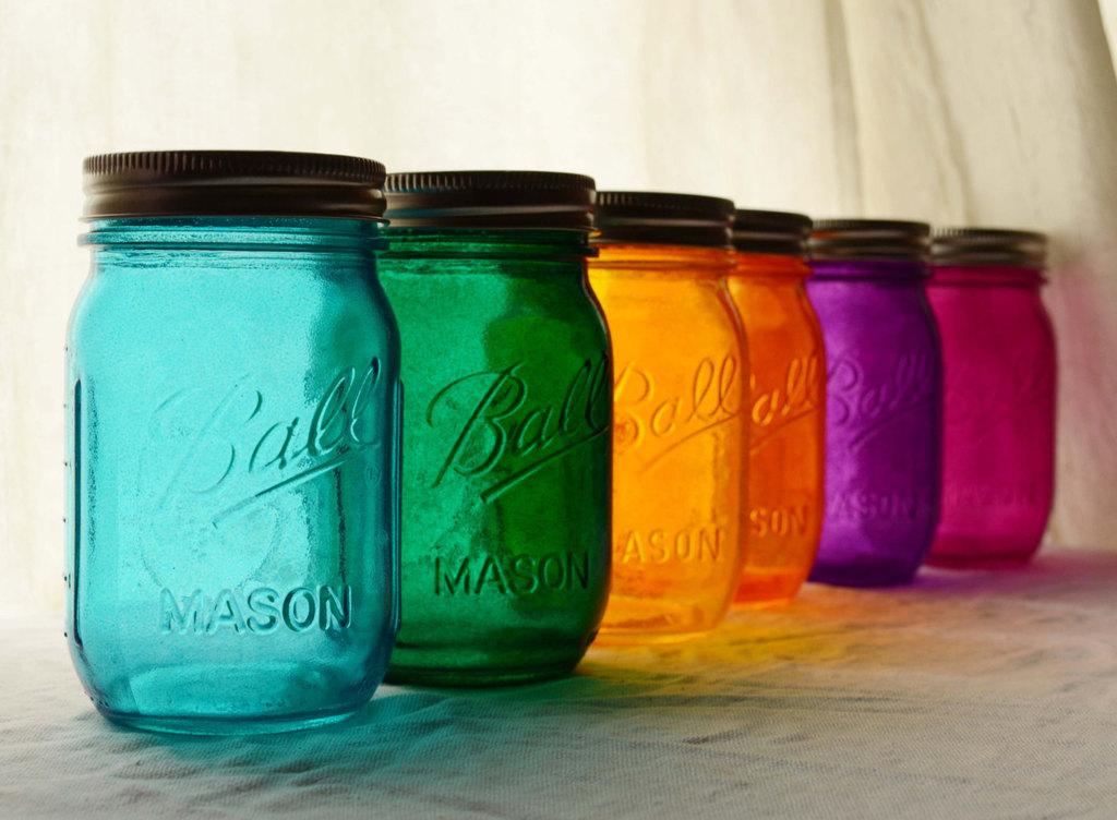 Stained glass mason jar wedding decor.full