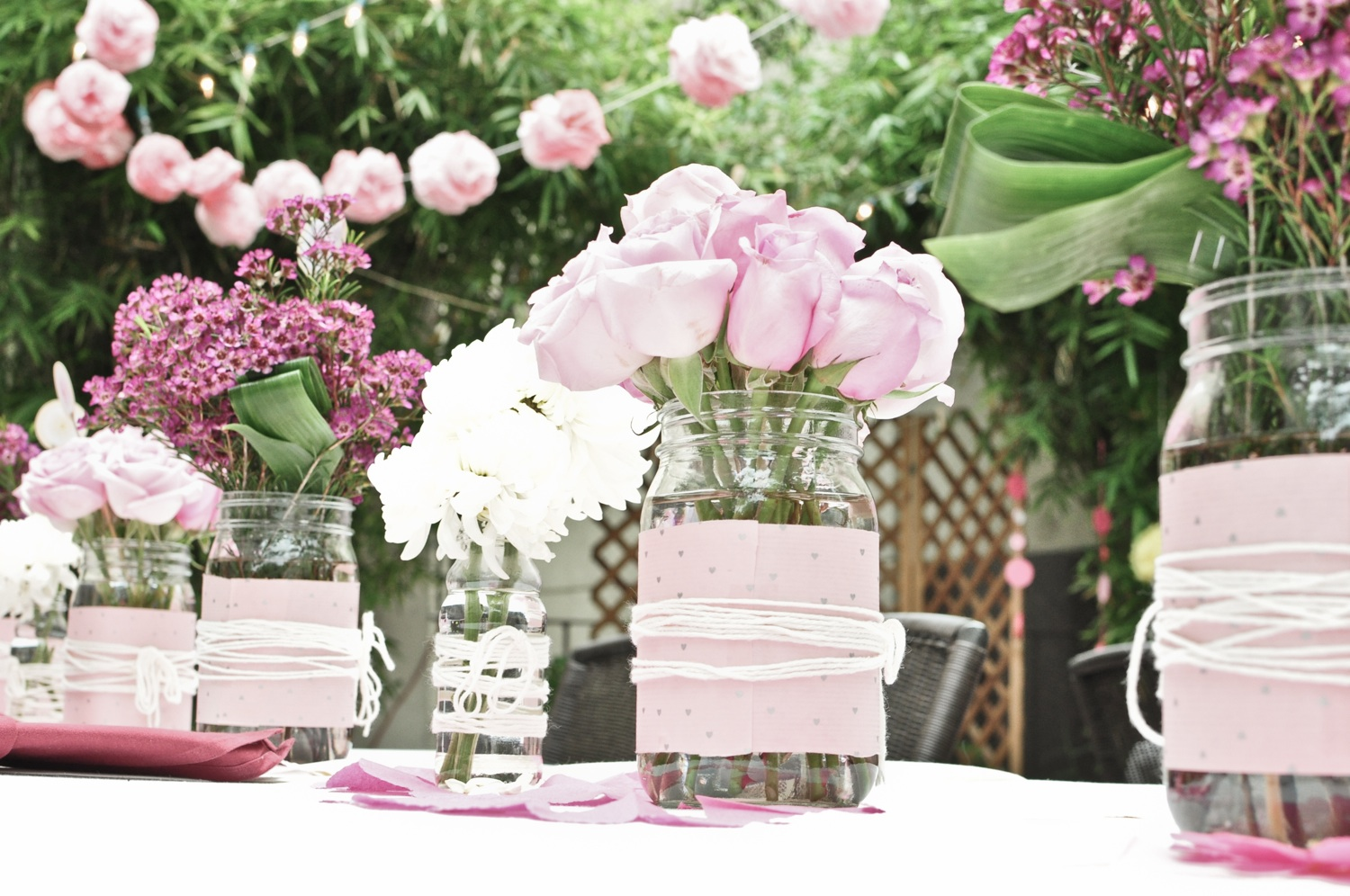 romantic wedding centerpieces mason jars