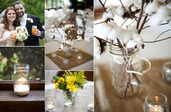 vintage inspired wedding decor DIY mason jars