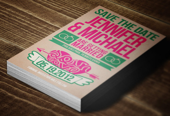 pink and green hipster wedding invitation