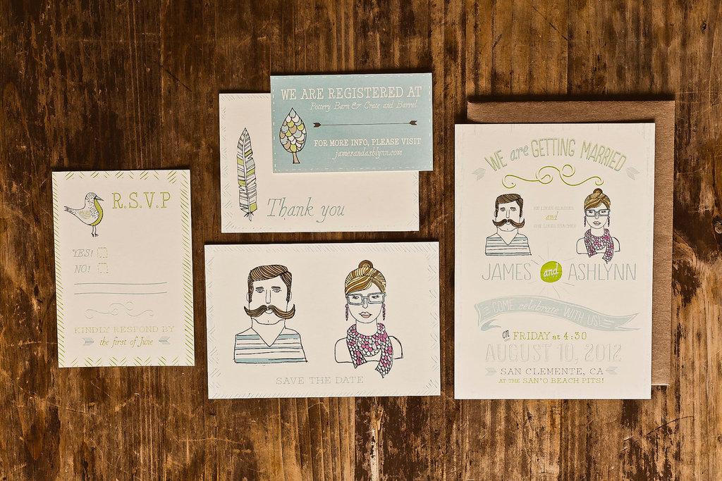 Wedding Invitation Suite Vintage Illustrated