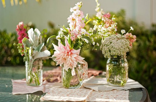 mason jars wedding decor pink wedding flowers