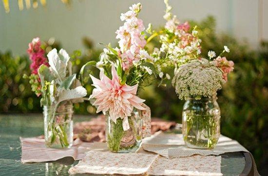 photo of Enchanted Wedding Decor Using Mason Jars