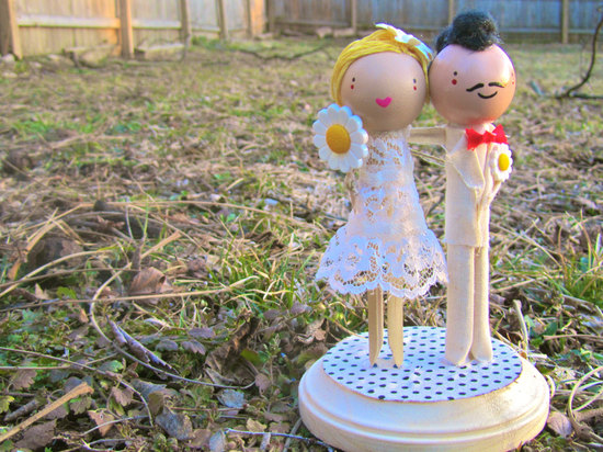 Handmade hipster wedding cake topper