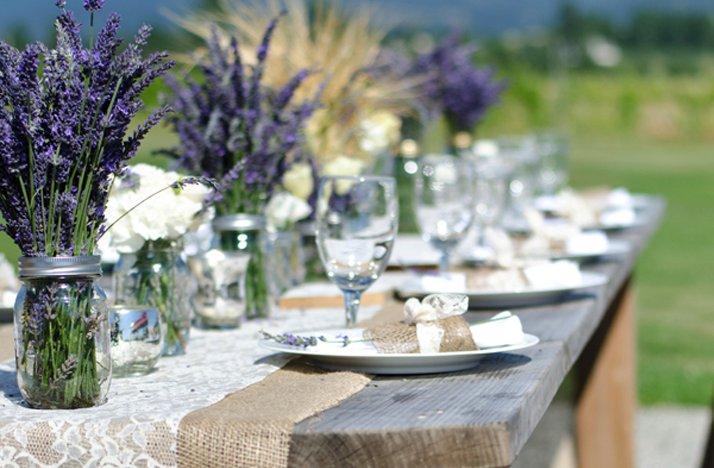 Outdoor-wedding-reception-centerpieces-mason-jars-purple-wedding-flowers.full
