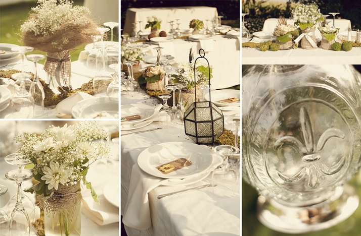 Rustic chic wedding decor mason jar centerpieces - Decoration vintage pas cher ...