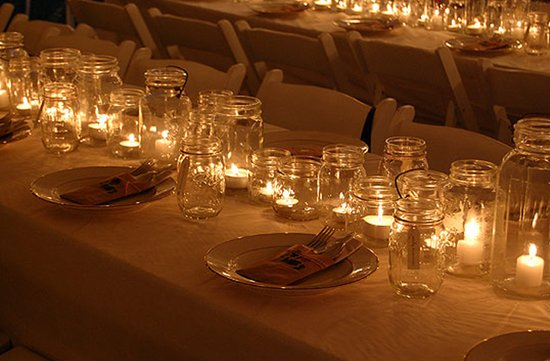 vintage wedding ideas mason jars ceremony reception decor 6