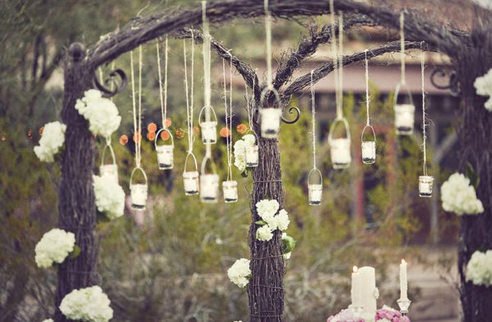 vintage wedding ideas mason jars ceremony reception decor 2  OneWed ...