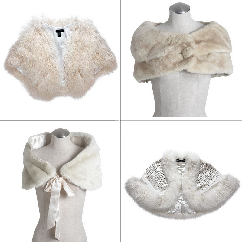 Luxe fur bridal boleros for winter brides for Fur shrug for wedding dress