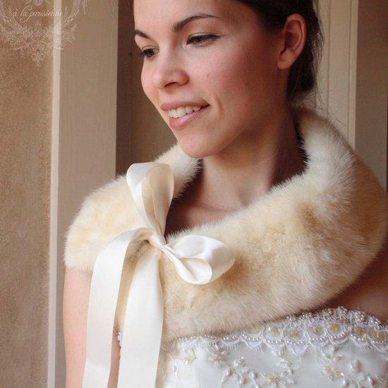 vintage fur bridal collar lace wedding dress