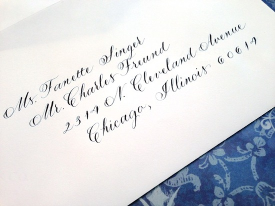 Traditional hand calligraphy, wedding invitation envelopes