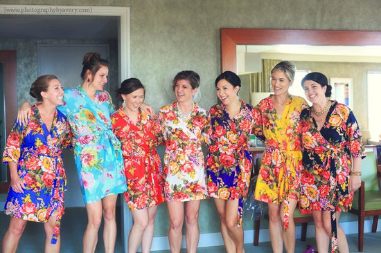 Mix and Match Floral Kimonos for Bridesmaids
