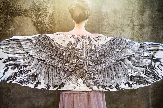 Angel wings scarf for bridesmaids