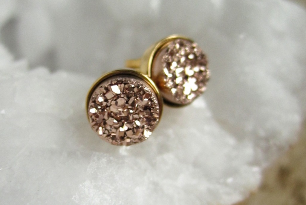 rose gold druzy earrings for bridesmaids
