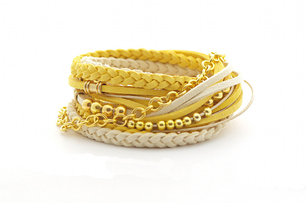 Yellow-and-gold-wrap-bracelets-for-bridesmaids.full