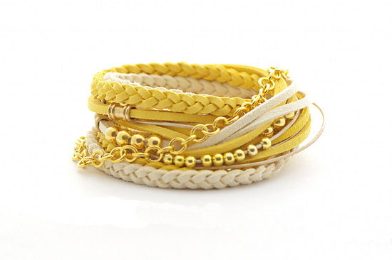 yellow and gold wrap bracelets for bridesmaids