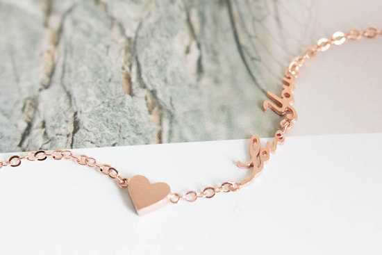 Rose gold Love You necklace for bridesmaids