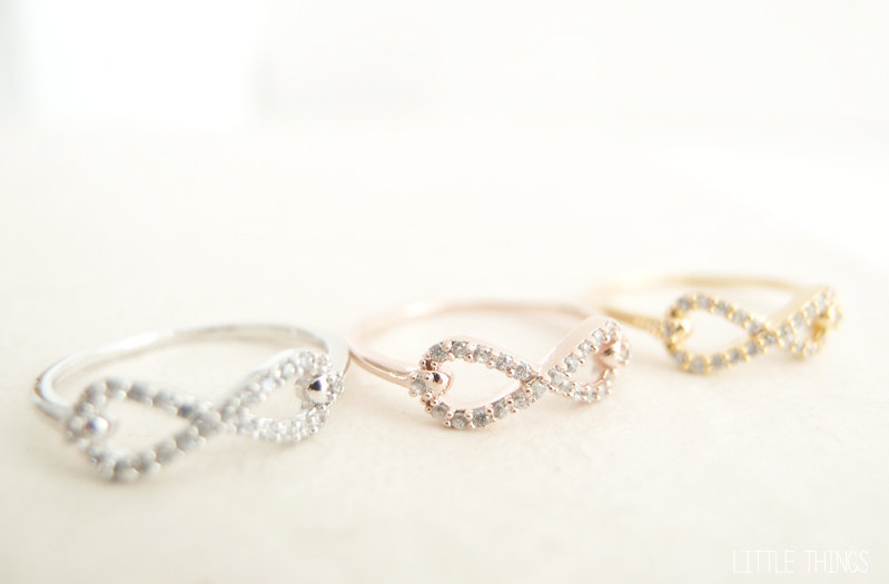 Gold plated infinity rings for bridesmaids