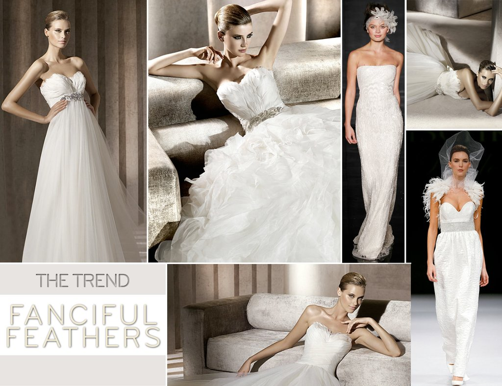 2012 wedding dress trends feathers