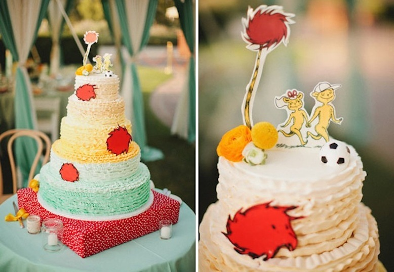 whimsical dr seuss themed wedding reception cake