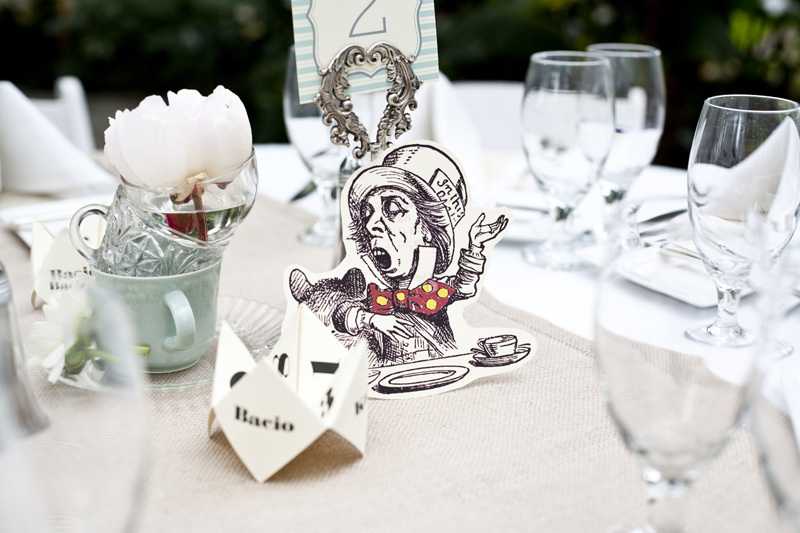 Alice in Wonderland themed wedding tablescape