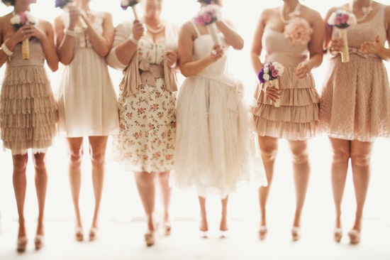 Neutral mix and match bridesmaids