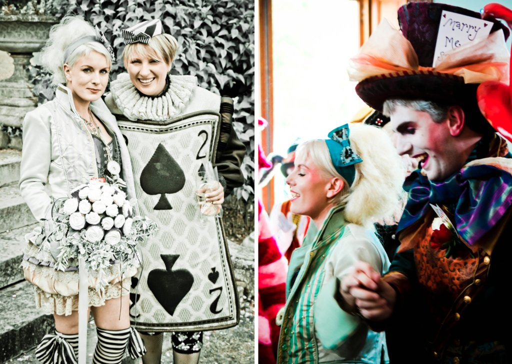 ce in Wonderland themed wedding offbeat bride and groom